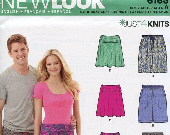 FREE US SHIP New Look 6165 His Her Unisex Matchy Matchy Pajama bottoms shorts Banded Lounge pants Size xs-xl Sewing Pattern Pj's