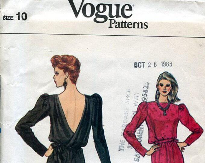 FREE US SHIP Vogue 8540 Vintage Vintage Retro 1980s 80s Backless Cocktail Sexy Dress Uncut Size 10 Bust 32.5 Vintage Sewing Pattern