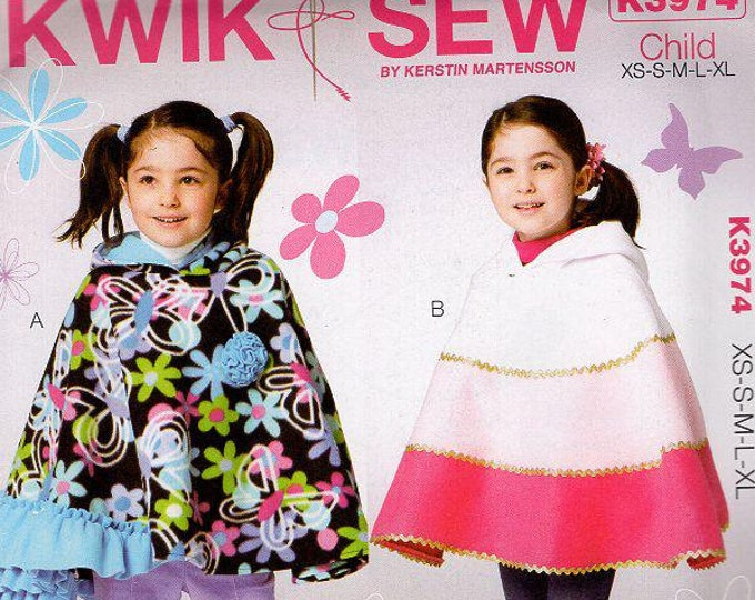 Free Us Ship Sewing Pattern Kwik Sew 3974 Child Girls Fleece Poncho with Hoody Hood Groovy Hippie New Uncut Out of Print All Sizes