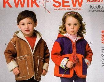Free Us Ship Sewing Pattern Kwik Sew 3957 Fleece Lined Jacket Hood Hoody Boy Girls Toddler Size 1 2 3 4 2013 Out of Print