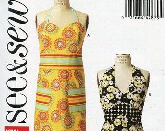 FREE US SHIP Butterick 5875 Out of Print Bib Apron Sewing Pattern Miss Factory Folded Unused Brand new!