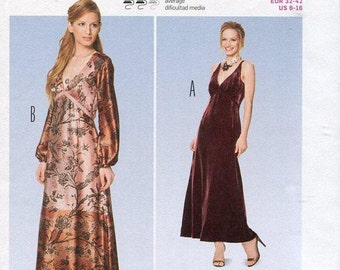 FREE US SHIP Burda 6857 Empire Dress Formal Evening Length  Size 6-16 Bust 30 31 32 34 36 38 New Uncut Sewing Pattern