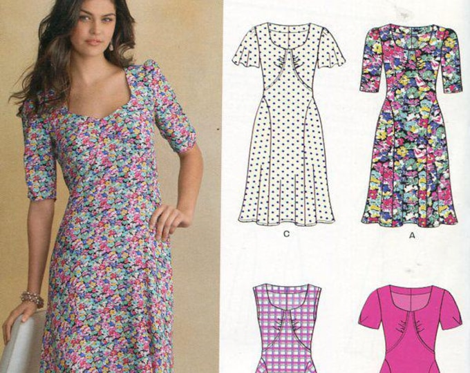 FREE US SHIP New Look 6093 Inset Dress 5 Looks Size 4/16 Out of Print Sewing Pattern Bust 29 30 31 32 34 36 38 New Condition