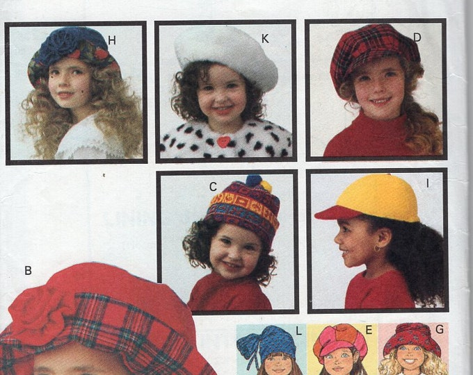Butterick 6943 Retro 1990s 90's 1993 Sewing Pattern Free Us Ship Girls Retro Hats New Uncut Out of Print