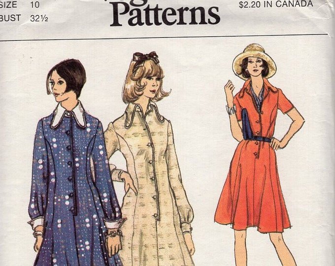 Free Us Ship Sewing Pattern Vogue 8532 Vintage Retro 1970s 70s Evening Length Day Maxi Shirtdress Dress Size 10 Bust 32 Uncut