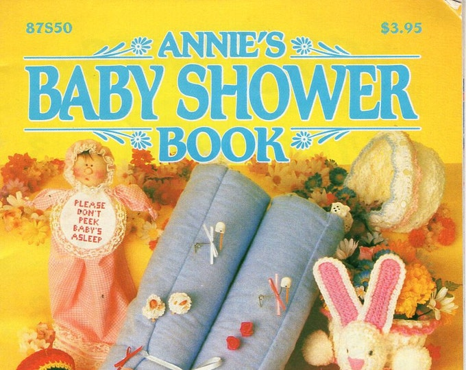 FREE US SHIP Annie's Attic Booklet Baby Shower Book 87S50 1984 Free Us Ship Crochet Gifts Booties Games Decorations Prizes Pattern Club