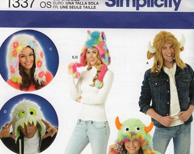 Simplicity 1337 Sewing Pattern Free Us Ship Adult Men Miss Tween Monster Faux Fur Whimsical Costume Hat Head New Uncut Out of Print