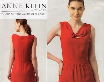 FREE US SHIP Vogue 1327 Sewing Pattern Anne Klein Twisted Neckline Dress Designer Out of Print 2012 Size 6/14 14/22 plus Like New