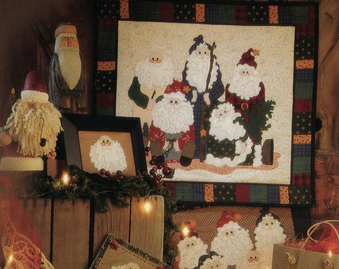 FREE US SHIP Fiber Mosaics Craft Sewing Pattern Free Us Ship Christmas Quilt 88801 Old Fellows Reunion Santa Claus Uncut 1995