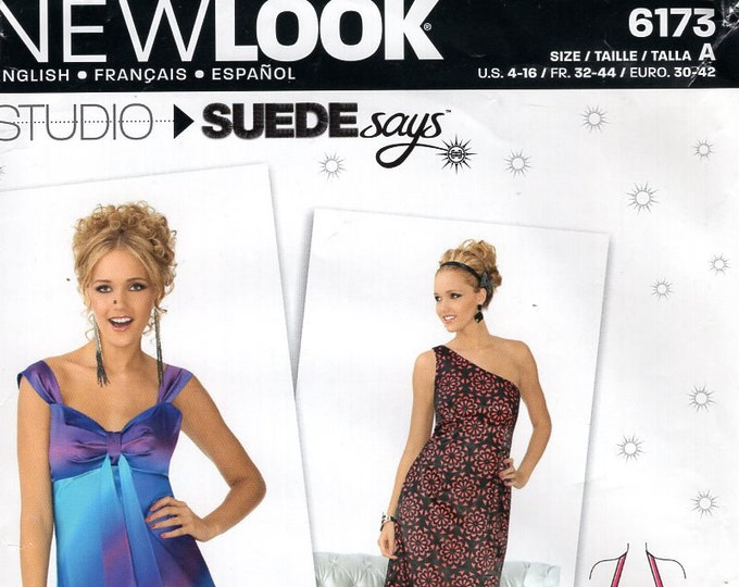 New Look 6173 Free Us Ship Dress Evening Length One Shoulder Halter  4/16 Size 4 6 8 10 12 14 16 New Sewing Pattern Bust 29 30 32 34 36 38