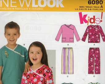 FREE US SHIP New Look 6090 Kids Sewing Pattern Girl's Kimono Pj's Pajamas Scrubs Top Pants Size 3 4 5 6 7 8 Out of Print