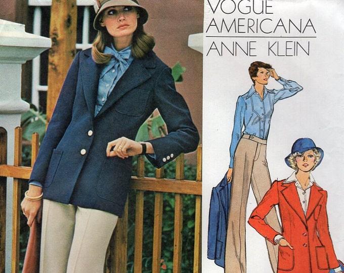 Free Us Ship Vogue 1085 Vintage Retro 1970s 70s Americana Designer Anne Klein High Waist Wide Leg Pants Jacket Skirt Size 10 Bust 32.5 Uncut