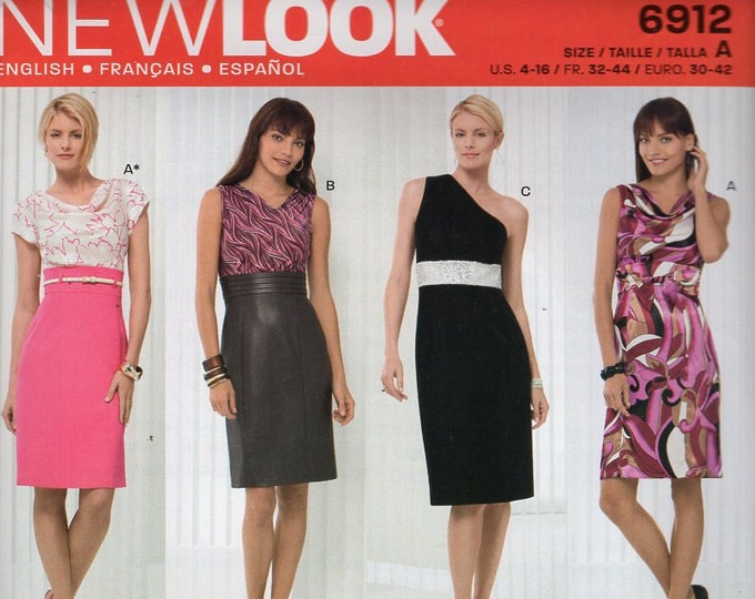 New Look 6912 Free Us Ship One Shoulder Godess Dress High Waist Layers Size 4 6 8 10 12 14 16 New Sewing Pattern Bust 29 30 32 34 36 38