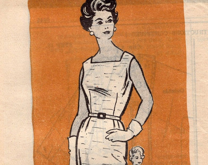Free Us Ship Sewing Pattern Vintage Retro 1950s 50s Mail Order Dress Jacket Vintag plus size Bust 44 Uncut Printed