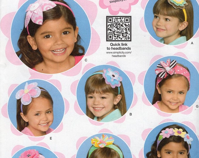 Simplicity 1820 Sewing Pattern Free Us Ship Girls Hair Accessories Headbands Flower New Uncut Factory Folded