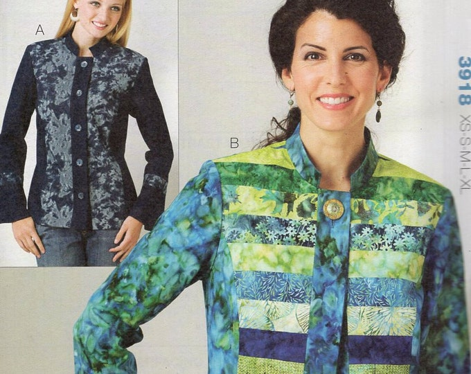 Free Us Ship Sewing Pattern Kwik Sew 3918 Misses Jelly Roll Quilt Jacket Plus Size XS-XL Bust 30 32 34 36 38 40 42 44 45 Uncut 2012