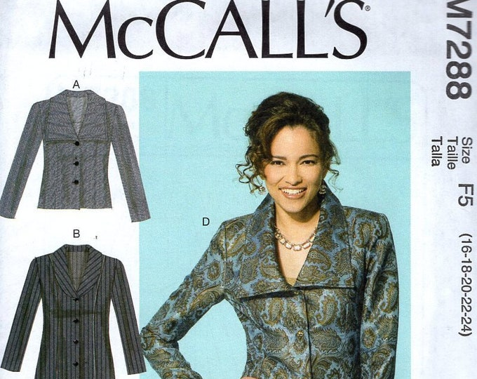 FREE US SHIP McCall's 7288 Sewing Pattern Shaped Back Hip Length Couture Jacket 2014 Sewing Pattern Size 16/24 Bust 38 40 42 44 46 plus size