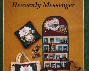 Ozark Crafts DOILY Decor Heavenly Messenger Picture Caddy Tote Bag Pillows Angels Quilt  1991 Free Us Ship Out of Print Sewing Pattern new