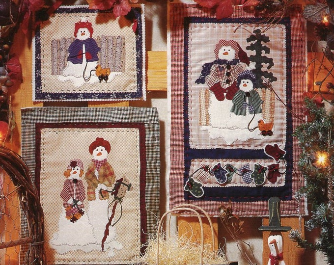 Fiber Mosaics Craft Sewing Pattern Free Us Ship Christmas Quilt 88101 JW Snow Family Samplers 1994 Snowman Uncut