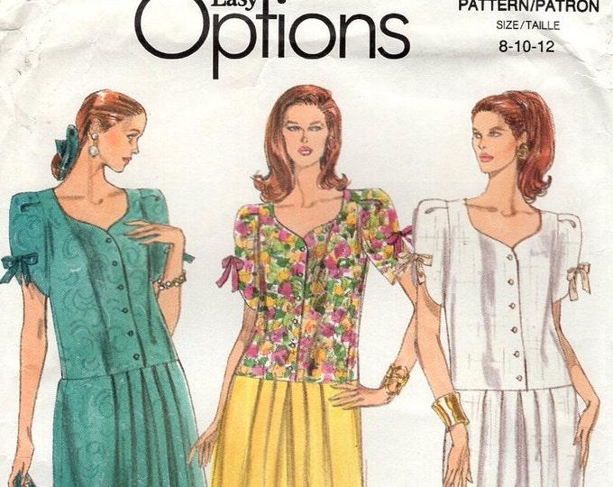 Free Us Ship Sewing Pattern Vogue 7985 Retro 1990s 90's Loose Fitting Jumpsuit Drop Waist Culottes Dress 8 10 12 Bust 31.5 32.5 34 Uncut