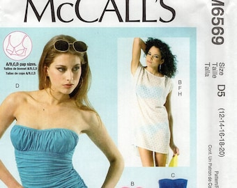 McCall's 6569 Free Us Ship Sewing Pattern Bathing Suit Swimsuit 1pc Bikini Cover Up Size 4/12 12/20  Bust 29 30 32 34 36 38 40 42 New