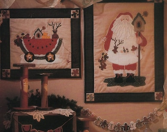 Fiber Mosaics Craft Sewing Pattern Free Us Ship Doll Christmas Quilt Santa Watermelon Wagon Uncut 86901 1994