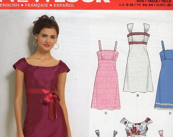 New Look 6749 Free Us Ship Dress Empire Cap Sleeve Sleeveless  Size  6 8 10 12 14 16 New Sewing Bust 30 31 32 34 36 38