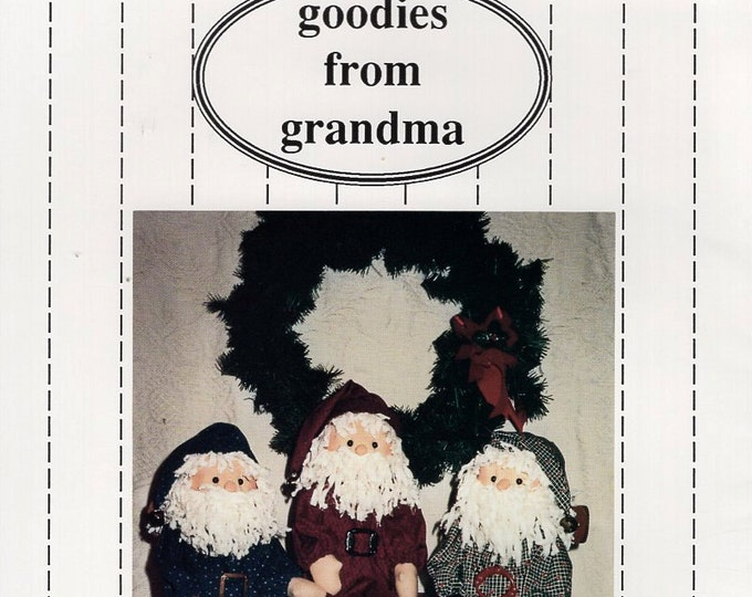 "Goodie from Grandma Craft Sewing Pattern Free Us Ship Doll Christmas Santa Sitter 1990 Uncut Joan K. Olson 24"" Tall"