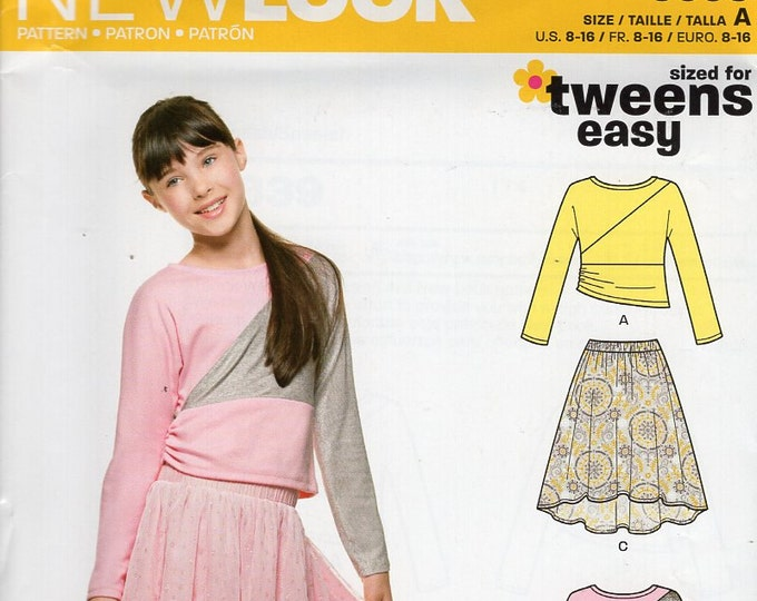 New Look 6339 Sewing Pattern Free Us Ship TWEENS Bias Draped Top Elastic Waist Shaped Hem Skirt Size 8 10 12 14 16 Out of Print