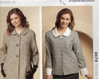Kwik Sew 3679 Sewing Pattern Free Us Ship Jacket Coat Time Collar Cuffs Plus Size XS-XL Bust 30 32 34 36 38 40 42 44 45 Uncut 2009