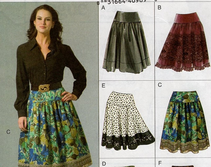 Free Us Ship Sewing Pattern Vogue 8295 Yoked Flared Skirt 6 Designs New 2006 Size 6 8 10 12 14 16 18 20 Waist 23-34 plus size  Out of Print