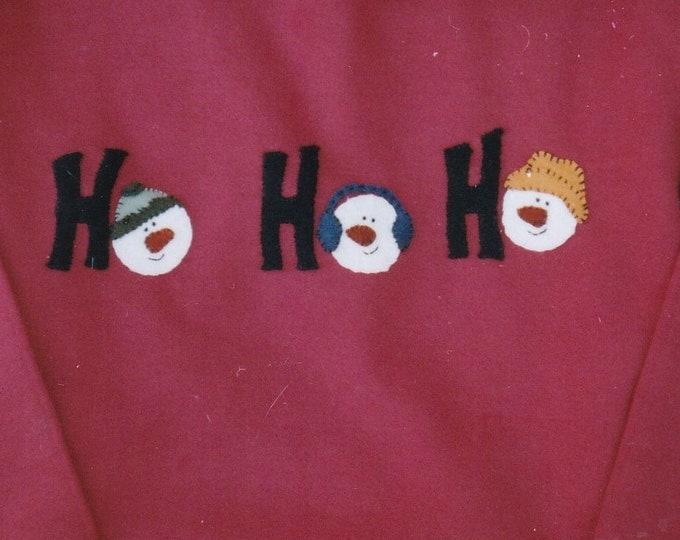 FREE US SHIP Out of Print Unused Craft Christmas Backyard Friends 326 Ho Ho Ho Snowman Sweatshirt Applique Lisa Miller 2004