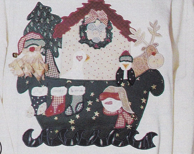 FREE US SHIP Out of Print Unused Craft Christmas Santa Claus Yuletide Yacht Whole Country Caboodle Sweatshirt Applique 129 1993
