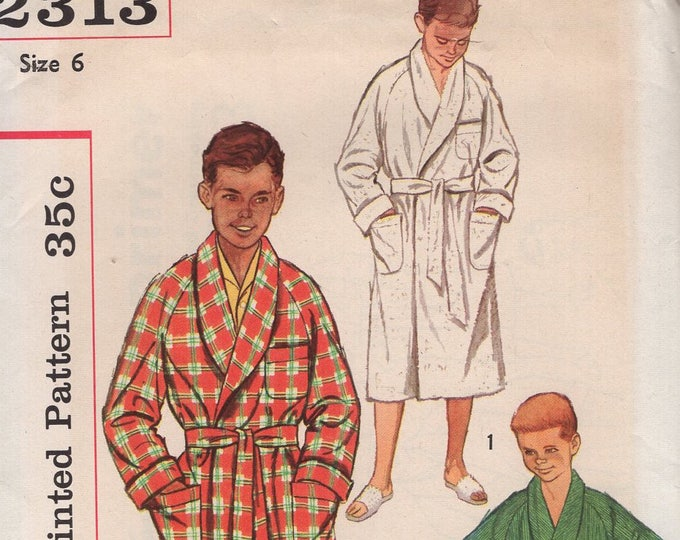 FREE US SHIP Vintage Retro 1950's 50's Sewing Pattern Simplicity 2313 Boys Raglan Sleeve Terry Cloth Wrap Bath Robe Uncut Size 6 Chest 24
