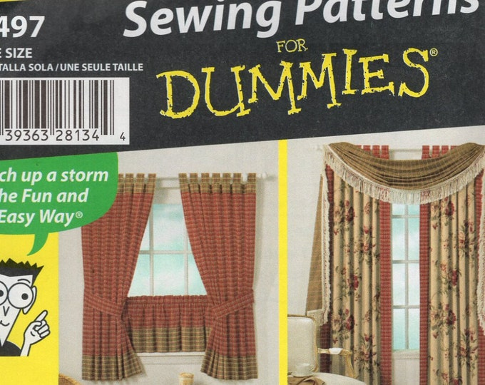 Simplicity Free Us Ship Sewing Pattern 4497 Café Scalloped Tab Drapes Window Treatments Curtain Valances Scarf Swag New Uncut Out of Print