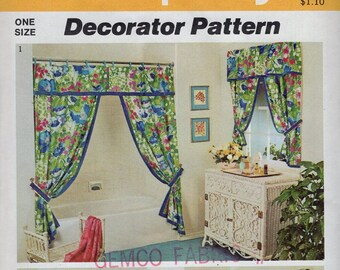 Free Us Ship Simplicity 5545 Decorator Pattern Shower Curtain Window Treatments Valance Panels Uncut Home Vintage Retro 1970s 70s Pattern