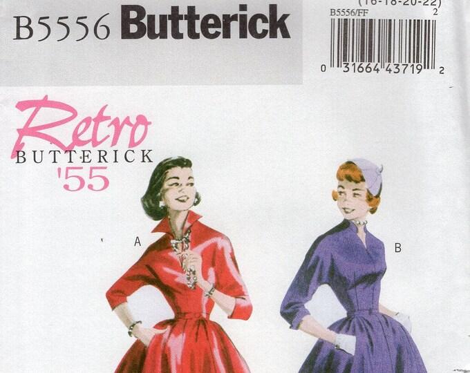 FREE US SHIP Butterick 5556 Sewing Pattern Vintage Retro 1950s 50s  Collar Dress Uncut Size 8/14 16/22 Bust 31 32 34 36 38 40 42 44  plus