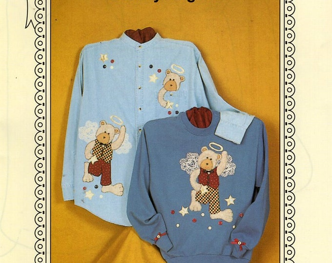 Ozark Crafts DOILY WEAR Bear -ly Angelic Quilt embellishment Applique 1997 Free Us Ship Out of Print Sewing Pattern Unused