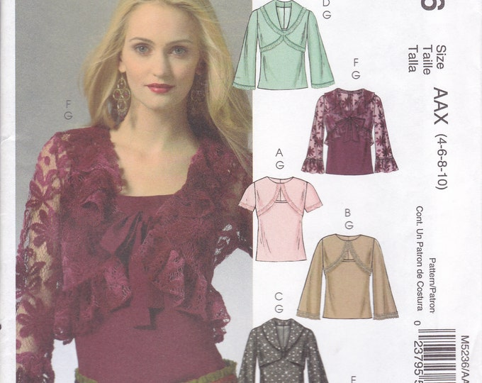 FREE US SHIP McCalls 5236 Sewing Pattern faux Bolero Tie Tops Size 4 6 8 10 Bust 29.5 30.5 31.5 32.5 new