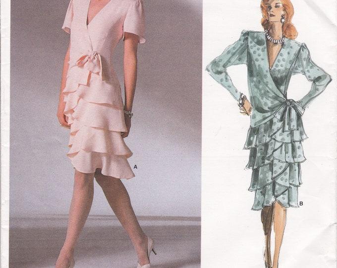 FREE US SHIP Vogue 1891 Vintage Retro 1980s 80s Flounce Mock Wrap Dress Designer Bellville Sassoon Uncut Bust 31.5 Size 8 Sewing Pattern