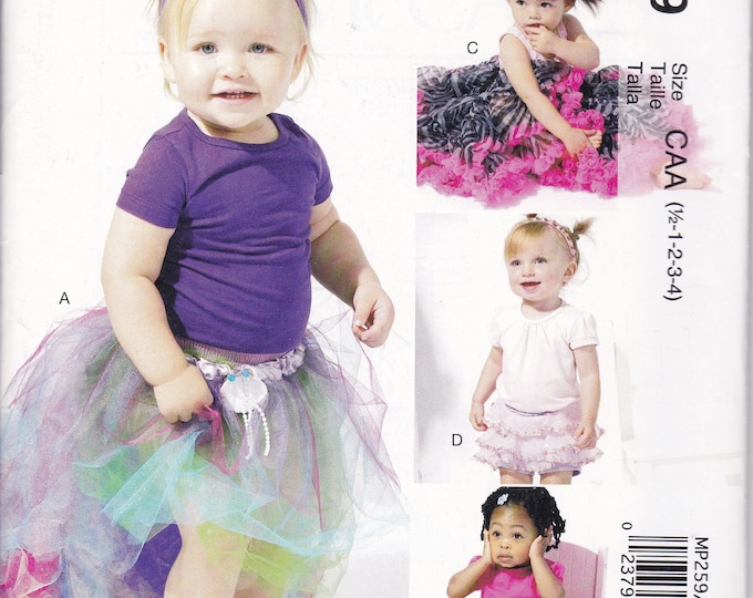Free Us Ship Sewing Pattern McCall's 259 6636 Baby Toddler Girl Tulle Skirt Tutu Dance Ruffles Skirt Size 1/2 1 2 3  New Unused