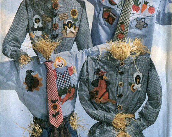 Free Us Ship Sewing Pattern Simplicity 9093 Scare Crow Fall Machine Appliques Shirts 1994  Neck Ties Crow Sunflower Vegetable Garden Fall