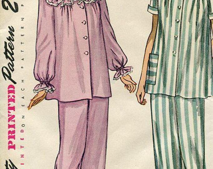 FREE US SHIP Vintage Retro 1940's 40's Original Sewing Pattern Simplicity 2598 Uncut Pajamas Pj's Pyjamas Sleepwear Lingerie Yoked Bust 30