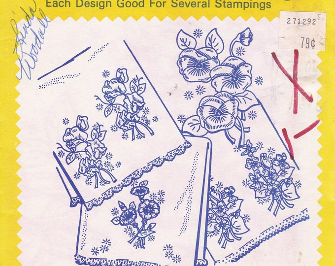 FREE US SHIP Vintage Retro Aunt Martha's Hot Iron Transfer 3254 Floral Motifs Flower Pansy Tea Towel Design Sealed Pkg Embroidery Needlework