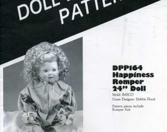 """FREE US SHIP Poissot Doll Dress Pattern Retro 1980's dpp 164 romper 24"""" Doll Sewing Pattern Insert From Dollcrafter Vintage Magazine"""