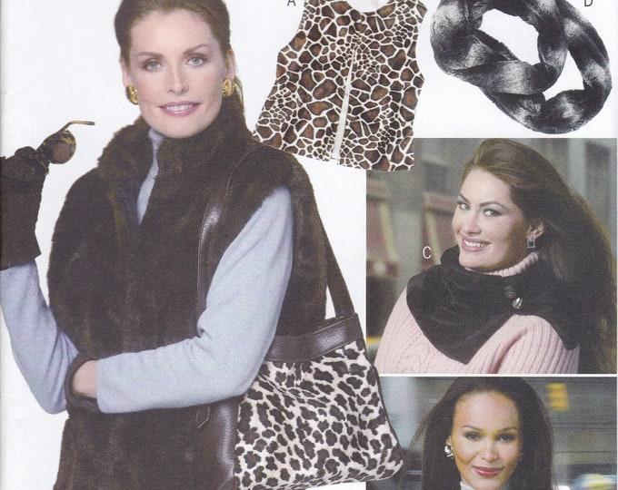 FREE US SHIP Butterick 5730 Sewing Pattern Purse Faux Fur Neck Warmer Collar Headband Handbag Vest Size  s m l Factory Folded