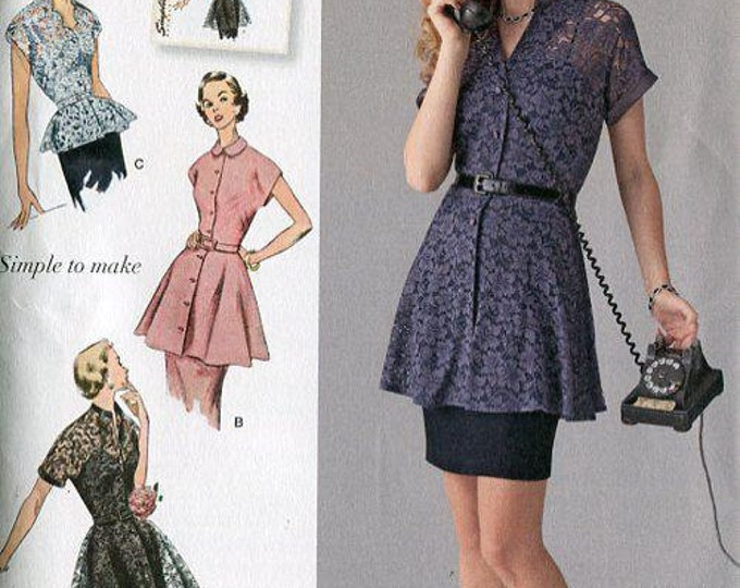 Simplicity 1460 Free Us Ship  Retro 1950's Tunic Peplum Blouse Reproduction Sewing Pattern Uncut Size 6/14 14/22 Bust 29-44 plus