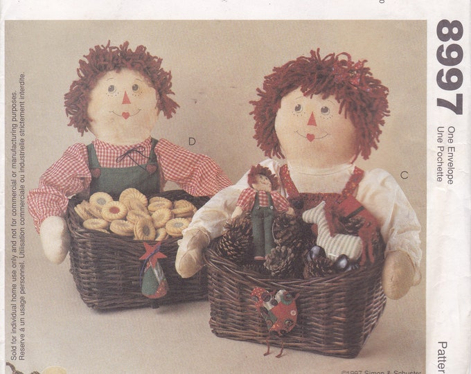 FREE US SHIP McCalls 8997 Retro 1990s 90's  Out of Print Raggedy Ann Andy Dolls Sewing Pattern Doll Basket Christmas Garland New Camel Horse