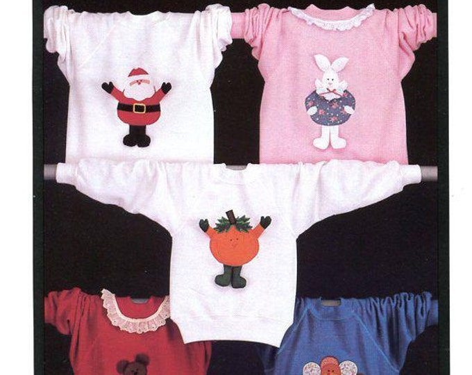 Free Us Ship Sewing Pattern Fabricraft Kids Holiday Applique Santa Christmas Halloween Thanksgiving Valentines Day Vintage Retro 1980s 80s