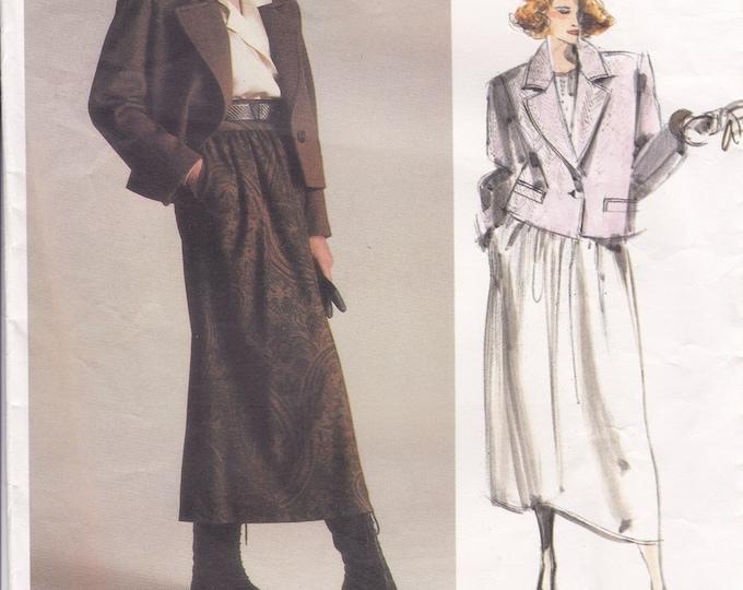 FREE US SHIP Vogue 1627 Vintage Retro 1980s 80s Designer Calvin Klein  Box Jacket Skirt Uncut Size 12 Bust 34 Include Silk Label